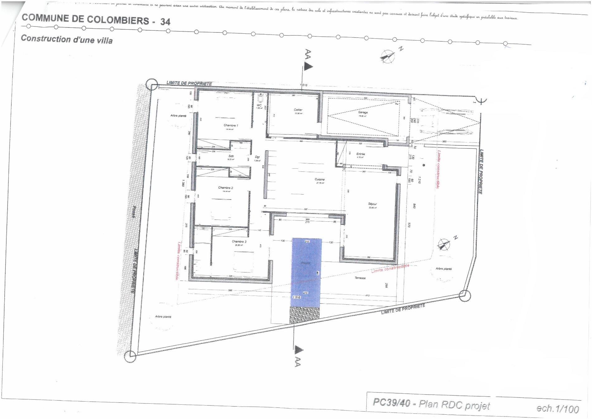 Villa t4 en construction de 133 m2 avec piscine et garage